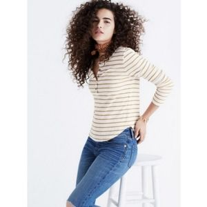 Madewell Ribbed Vivian Striped Henley Long Sleeve